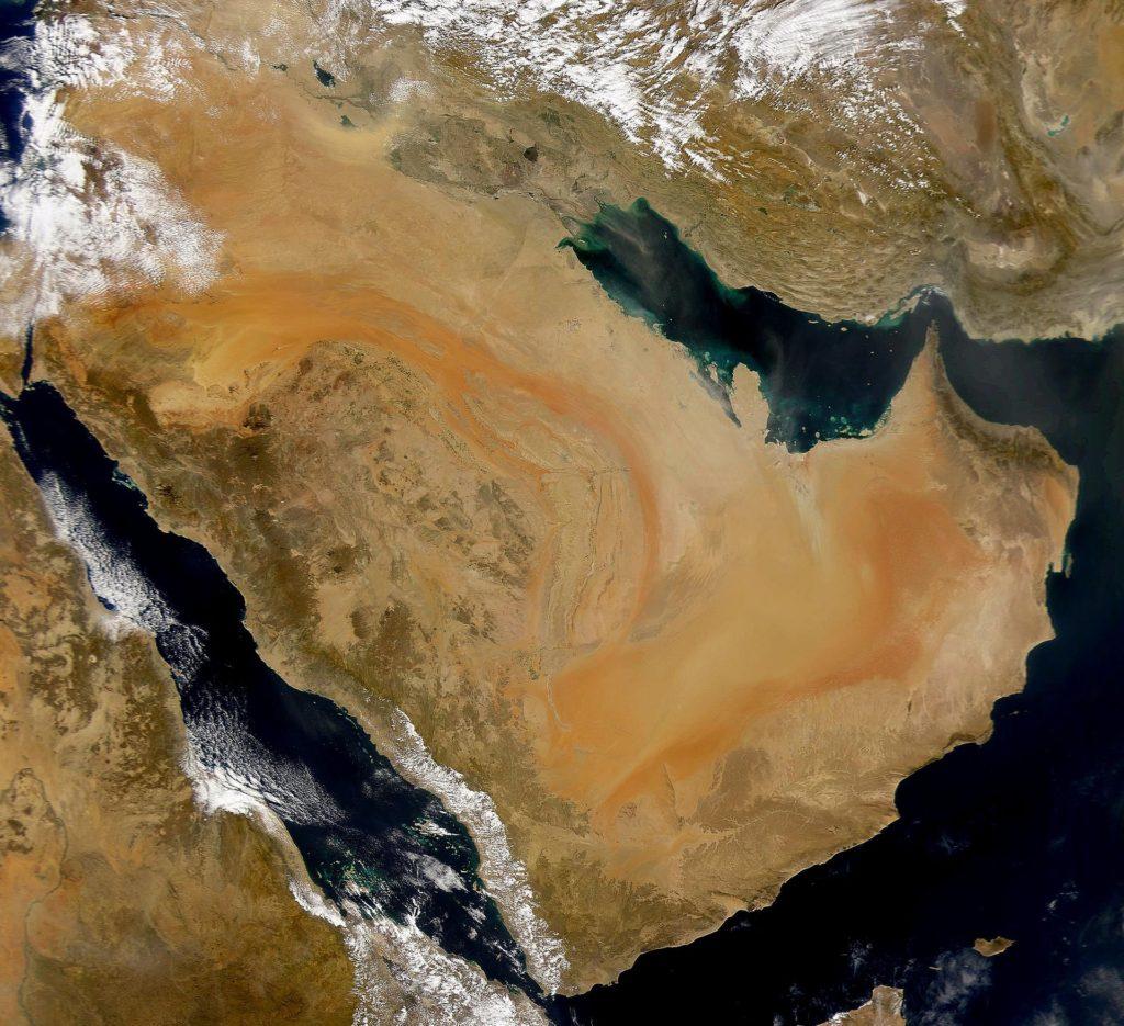 صورة فضائية لشبه الجزيرة العربية، الموطن الأصلي للعرب
