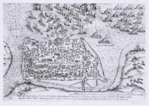 Carte représentant la bataille de Djerba en 1560