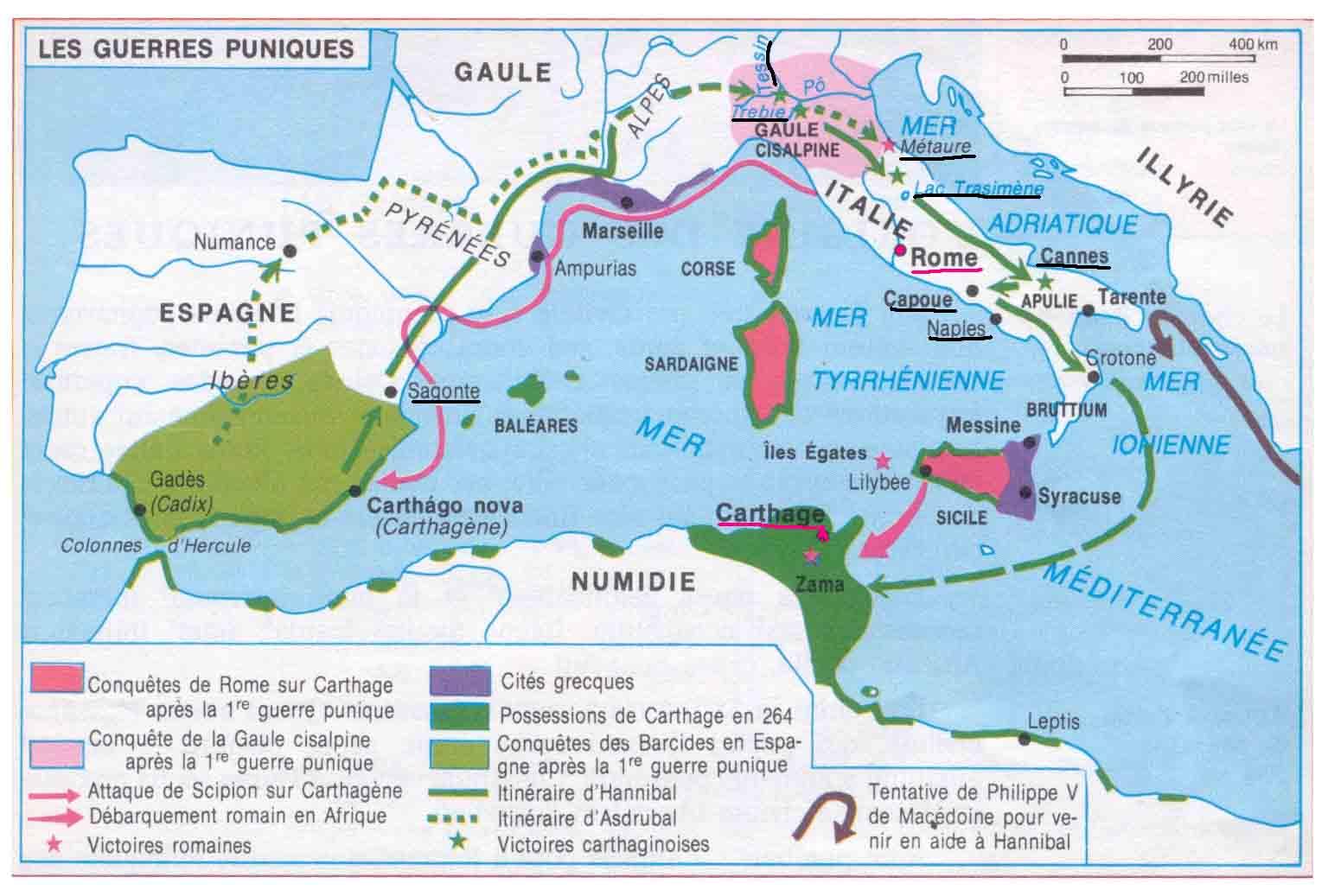 Les guerres Puniques entre Rome et Carthage