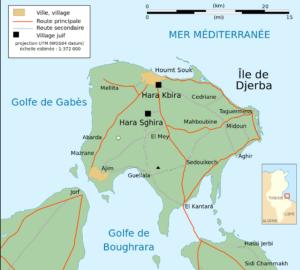 Localisation de Hara Kbira et Hara Sghira à Djerba.