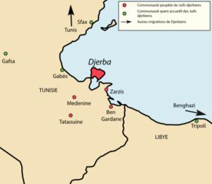 Communautés filles de Djerba et autres migrations de Djerbiens formant un archipel autour de l'île.