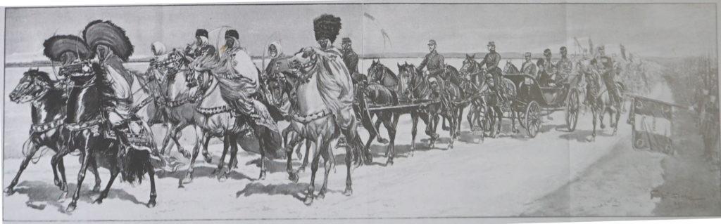 Caïdstunisiens invités à défiler avec Nicolas II en 1901. Le cortège impérial à Bétheny et les cheiks arabes passant devant la tribune.